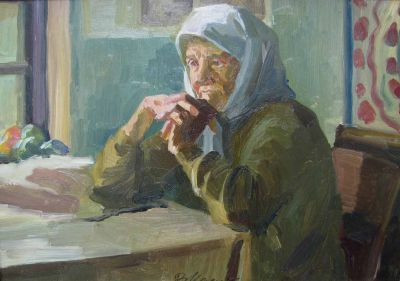 Vladimir Masik - Babushka at Table, 1954