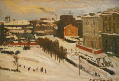 Sold Works: Gavriil Malysh - Workers, Outskirts of Leningrad