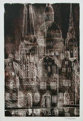 Works on Paper - Architectual Motif, Old Riga