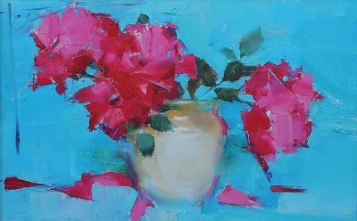 Yana Golubyatnikova - Roses on Blue