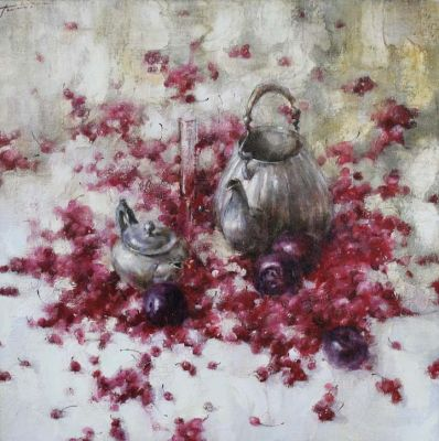 Yana Golubyatnikova - Still Life, Pewter and Fruit