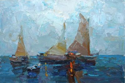 Select Sold Works: Daniil Volkov - Boats in the Evening
