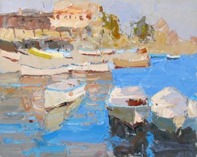 Select Sold Works: Daniil Volkov - Boats Blue Water